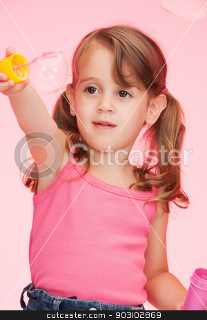 litle girl with soap bubbles stock photo, bright picture of beautiful litle girl with soap bubbles by Syda Productions