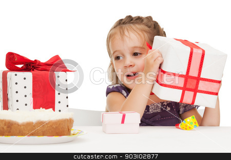 litle girl with birthday cake stock photo, bright picture of beautiful litle girl with birthday cake by Syda Productions
