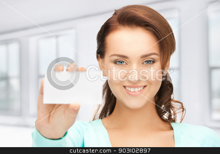 woman with business card stock photo, bright picture of confident woman with business card by Syda Productions