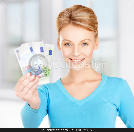 woman with euro cash money stock photo, picture of lovely woman with euro cash money by Syda Productions