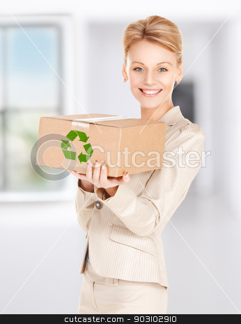 woman with recyclable box stock photo, picture of happy woman with recyclable box by Syda Productions