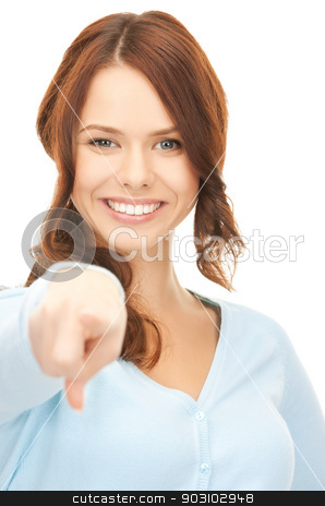 businesswoman pointing her finger stock photo, picture of attractive businesswoman pointing her finger... by Syda Productions