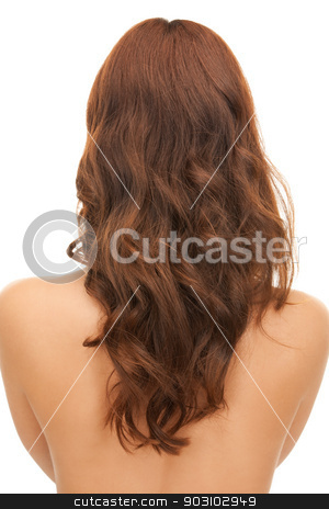 woman with long hair from the back stock photo, bright picture of woman with long hair from the back by Syda Productions