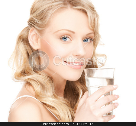 woman with glass of water stock photo, picture of beautiful woman with glass of water . by Syda Productions
