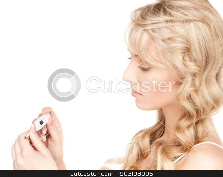 woman with thermometer stock photo, bright picture of beautiful woman with thermometer by Syda Productions