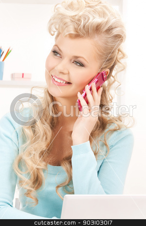 happy woman with cell phone stock photo, bright picture of happy woman with cell phone by Syda Productions