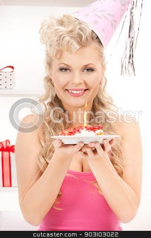 woman with birthday cake stock photo, bright picture of woman with birthday cake by Syda Productions