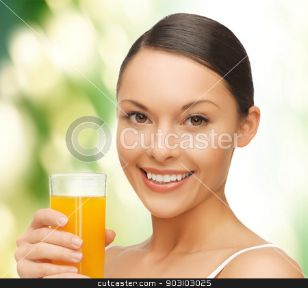 woman with glass of juice stock photo, picture of beautiful woman with glass of juice by Syda Productions