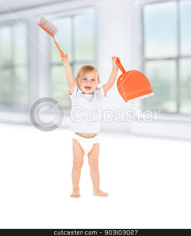 baby boy with with dustpan and brush stock photo, picture of baby boy with with dustpan and brush by Syda Productions