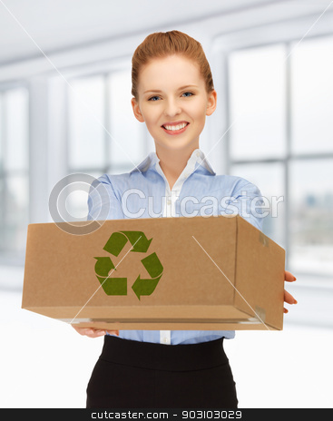 woman with cardboard box stock photo, picture of happy woman with recyclable box by Syda Productions