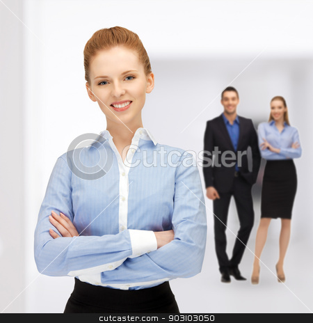 happy and smiling business team stock photo, bright picture of happy and smiling business team by Syda Productions