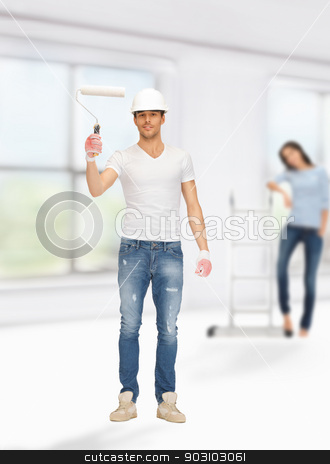 man and woman renovating their home stock photo, bright picture of young man and woman renovating their home by Syda Productions