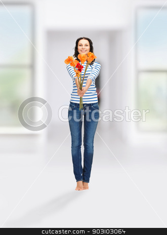 beautiful woman with flowers stock photo, bright picture of beautiful woman with flowers by Syda Productions