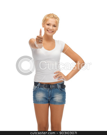 teenage girl in blank white t-shirt with thumbs up stock photo, happy teenage girl in blank white t-shirt with thumbs up by Syda Productions