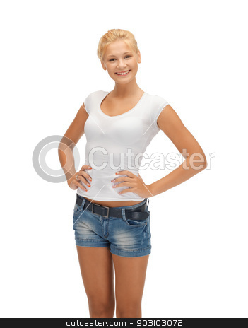smiling teenage girl in blank white t-shirt stock photo, happy teenage girl in blank white t-shirt by Syda Productions