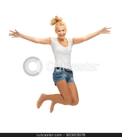 jumping teenage girl in blank white t-shirt stock photo, picture of jumping teenage girl in blank white t-shirt by Syda Productions