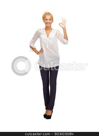 beautiful teenage girl with ok sign stock photo, picture of beautiful teenage girl with ok sign by Syda Productions