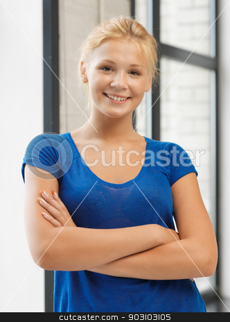 happy and smiling teenage girl stock photo, bright picture of happy and smiling teenage girl by Syda Productions