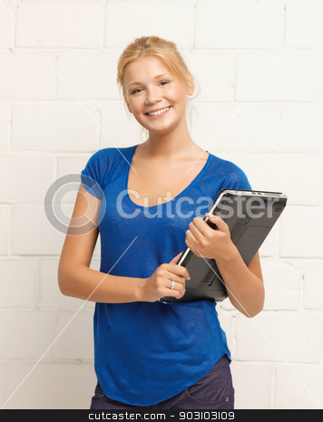 happy and smiling teenage girl with laptop stock photo, picture of happy and smiling teenage girl with laptop by Syda Productions