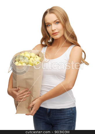 woman with bag stock photo, picture of woman with shopping bag full of apples by Syda Productions