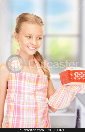 little housewife stock photo, bright picture of cooking girl over white by Syda Productions