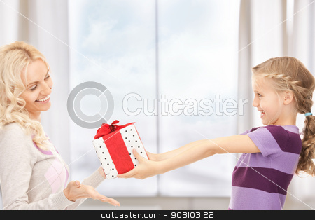 mother and little girl with gifts stock photo, picture of mother and little girl with gifts by Syda Productions