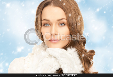 beautiful woman in white gloves stock photo, picture of beautiful woman in white gloves. by Syda Productions