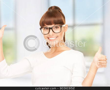 thumbs up stock photo, bright picture of lovely businesswoman with thumbs up by Syda Productions