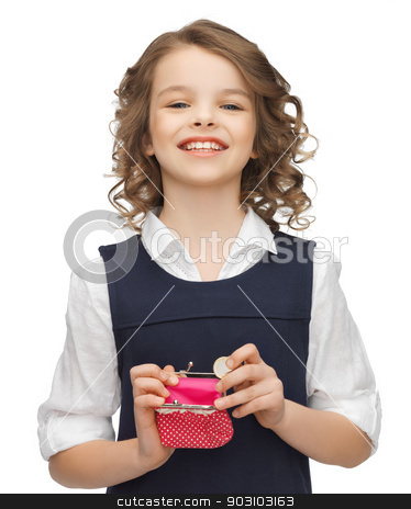 girl with coin purse stock photo, picture of beautiful girl with coin purse by Syda Productions