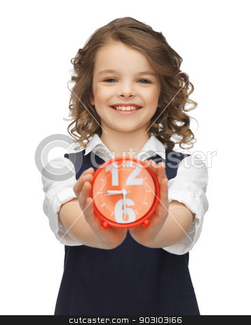 girl with alarm clock stock photo, picture of beautiful girl with alarm clock by Syda Productions