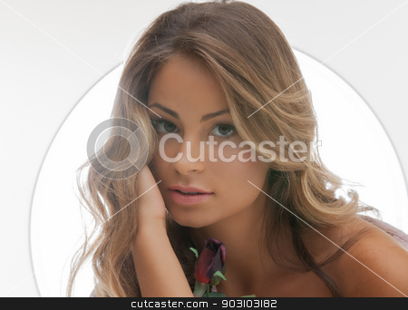 beautiful woman with rose stock photo, bright picture of beautiful woman with rose by Syda Productions