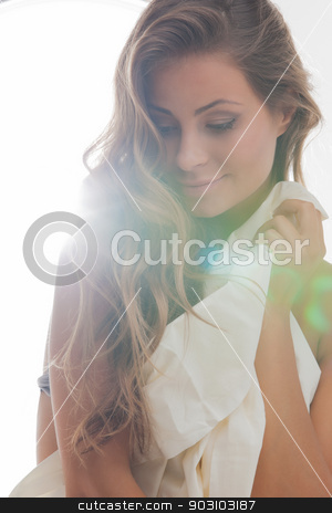 woman with sheet stock photo, bright picture of beautiful woman with sheet by Syda Productions