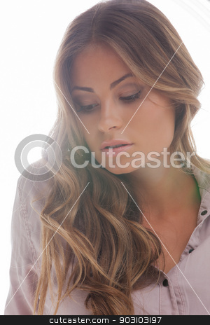beautiful woman in casual clothes stock photo, bright picture of beautiful woman in casual clothes by Syda Productions