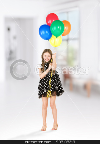 happy girl with colorful balloons stock photo, happy girl with colorful balloons over white by Syda Productions