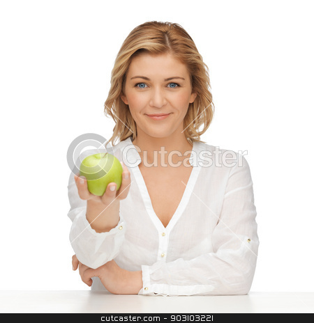 woman with green apple stock photo, picture of woman in casual clothes with green apple by Syda Productions