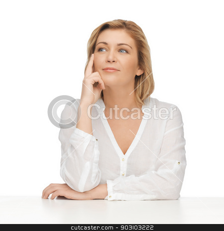 woman in casual clothes stock photo, bright picture of thoughtful woman in casual clothes by Syda Productions
