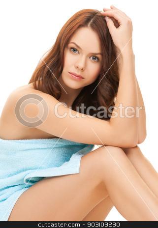 beautiful woman in towel stock photo, bright picture of beautiful woman in towel by Syda Productions
