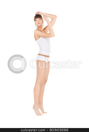 beautiful woman in cotton underwear stock photo, picture of beautiful woman in cotton underwear by Syda Productions
