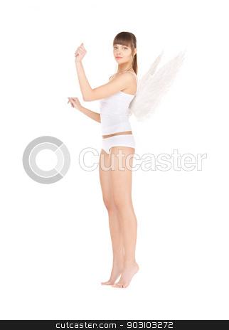 white lingerie angel girl stock photo, bright picture of white lingerie angel girl. by Syda Productions