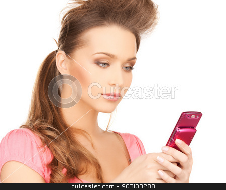woman with cellphone stock photo, bright picture of beautiful woman with cellphone by Syda Productions