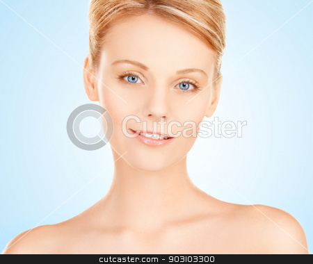 beautiful woman stock photo, closeup portrait picture of beautiful woman face by Syda Productions