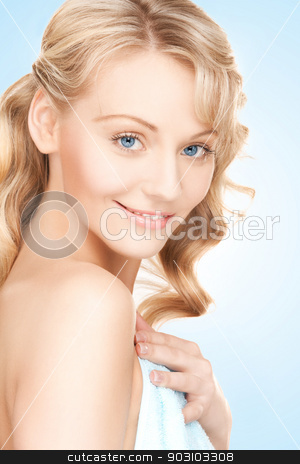 face and hands of beautiful woman stock photo, picture of face and hands of beautiful woman by Syda Productions