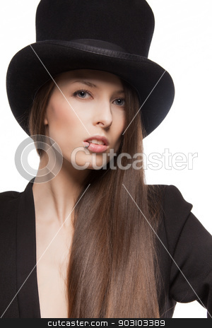 woman in casual clothes stock photo, picture of woman in casual clothes with top hat by Syda Productions