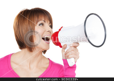 happy woman with megaphone stock photo, bright picture of happy woman with megaphone by Syda Productions