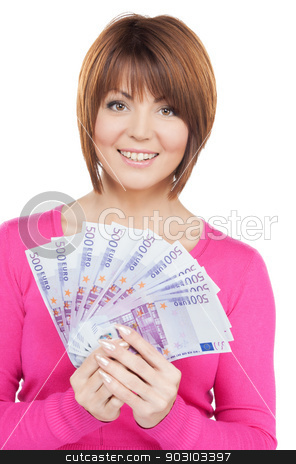 woman with euro cash money stock photo, picture of lovely woman with euro cash money. by Syda Productions
