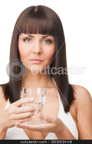 woman with glass of water stock photo, picture of woman in bikini with glass of water by Syda Productions