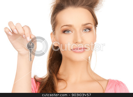 beautiful woman with key stock photo, bright picture of beautiful woman with key by Syda Productions
