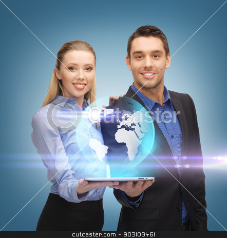man and woman with tablet pc stock photo, man and woman with virtual globe from tablet pc by Syda Productions