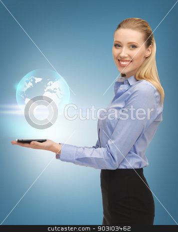 woman with tablet pc and virtual earth stock photo, picture of woman with tablet pc and virtual earth by Syda Productions