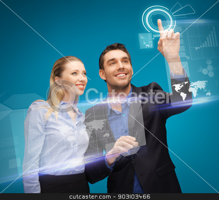 man and woman working with virtual touch screens stock photo, picture of man and woman working with virtual touch screens by Syda Productions